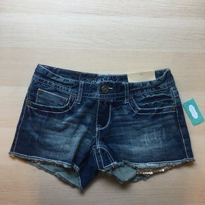 Maurices Denim Shorts with gold sequin pockets 0